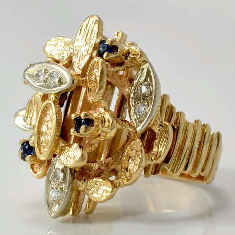 Diamond & Sapphire Textured Cocktail Ring | 0.10 ctw, SZ 6.5 |