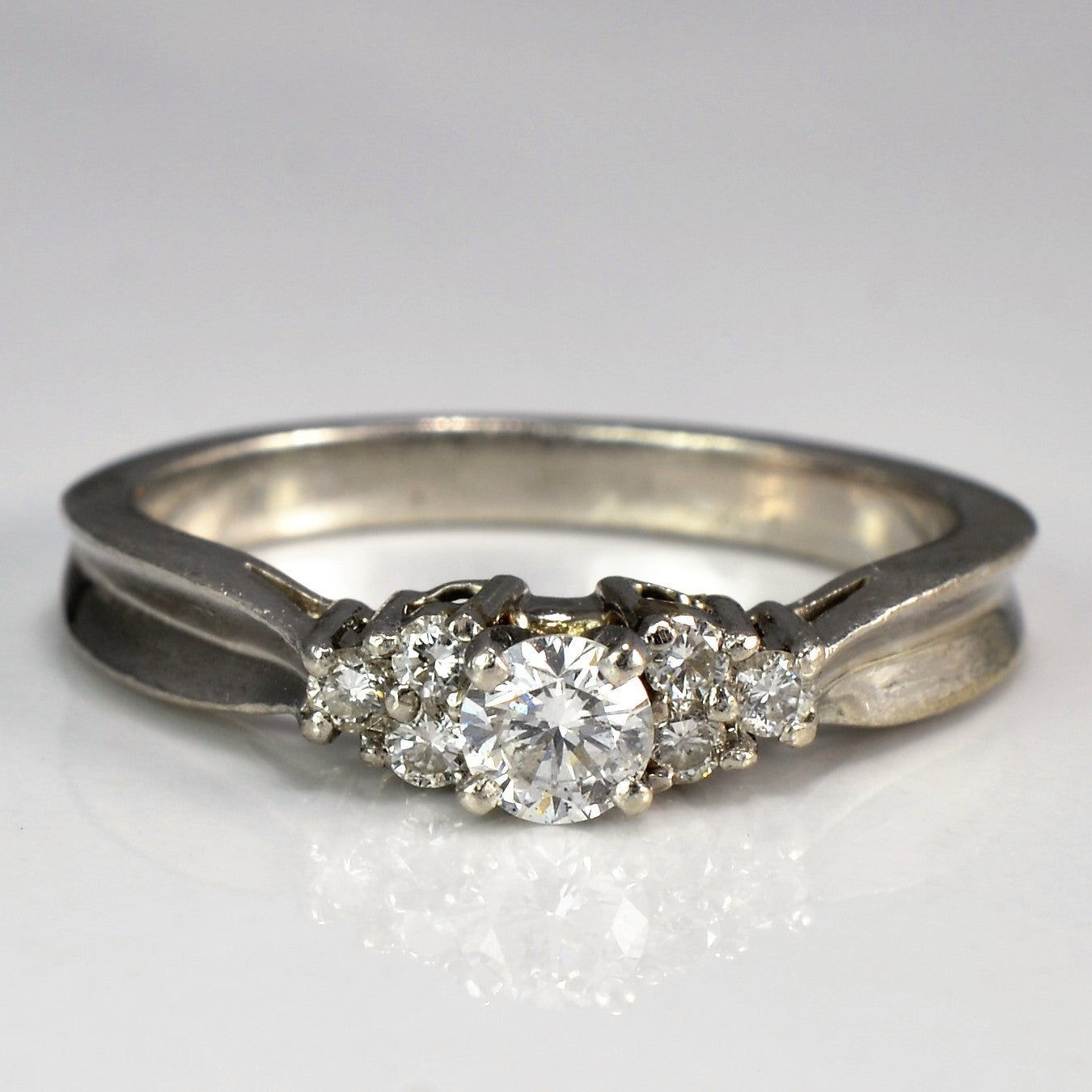 Concave Tapered Platinum Engagement Ring | 0.33 ctw, SZ 6.75 |
