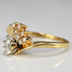 Diamond Cascade Cluster Bypass Engagement Ring | 0.33 ctw, SZ 7.25 |