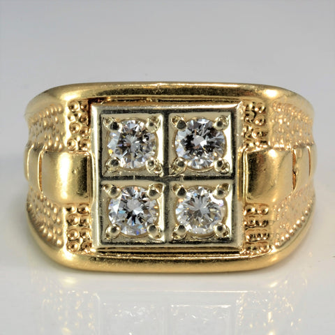 Patterned Pave Set Diamond Men's Ring | 0.60 ctw, SZ 10 |