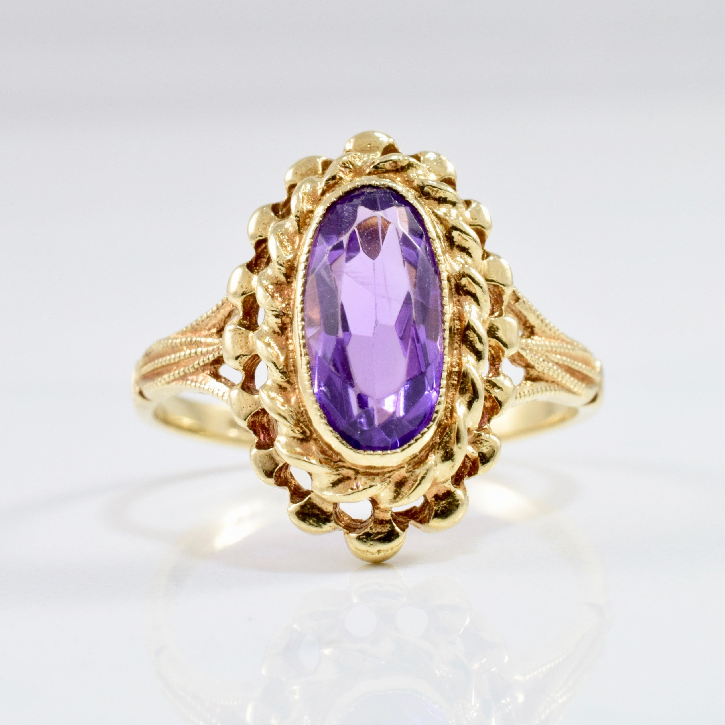 Bezel Set Amethyst Cocktail Ring | SZ 6.75 |