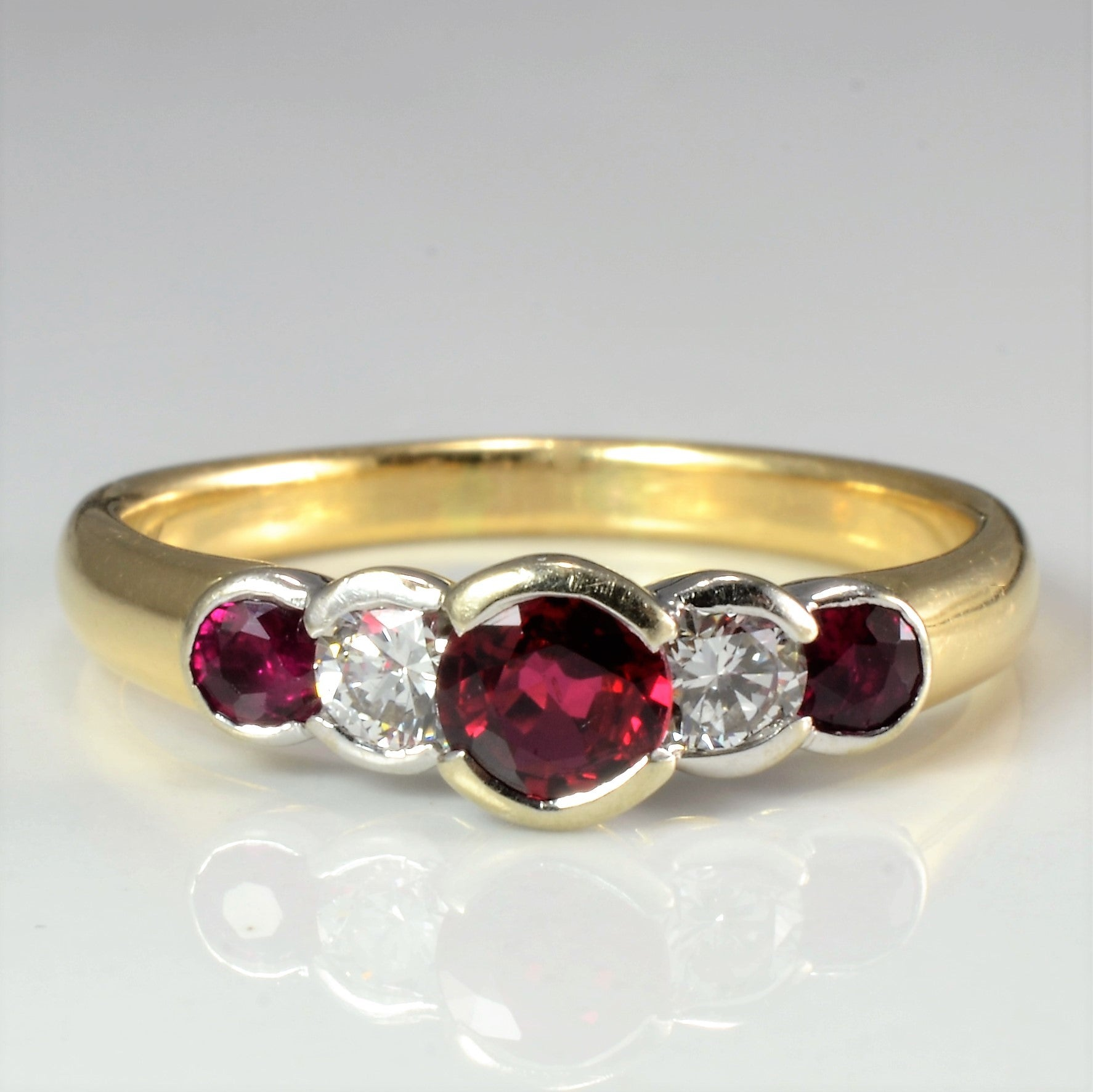 Bezel Set Ruby & Diamond Ring | 0.24 ctw, SZ 7.5 |