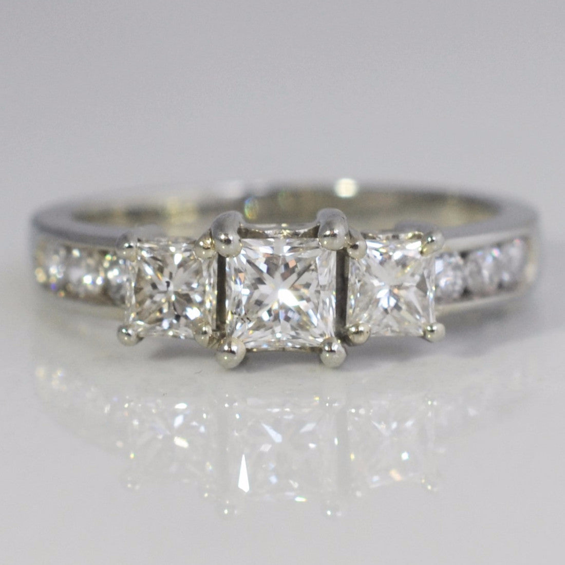 Princess Cut Three Stone Engagement Ring | 1.06 ctw, SZ 6 |