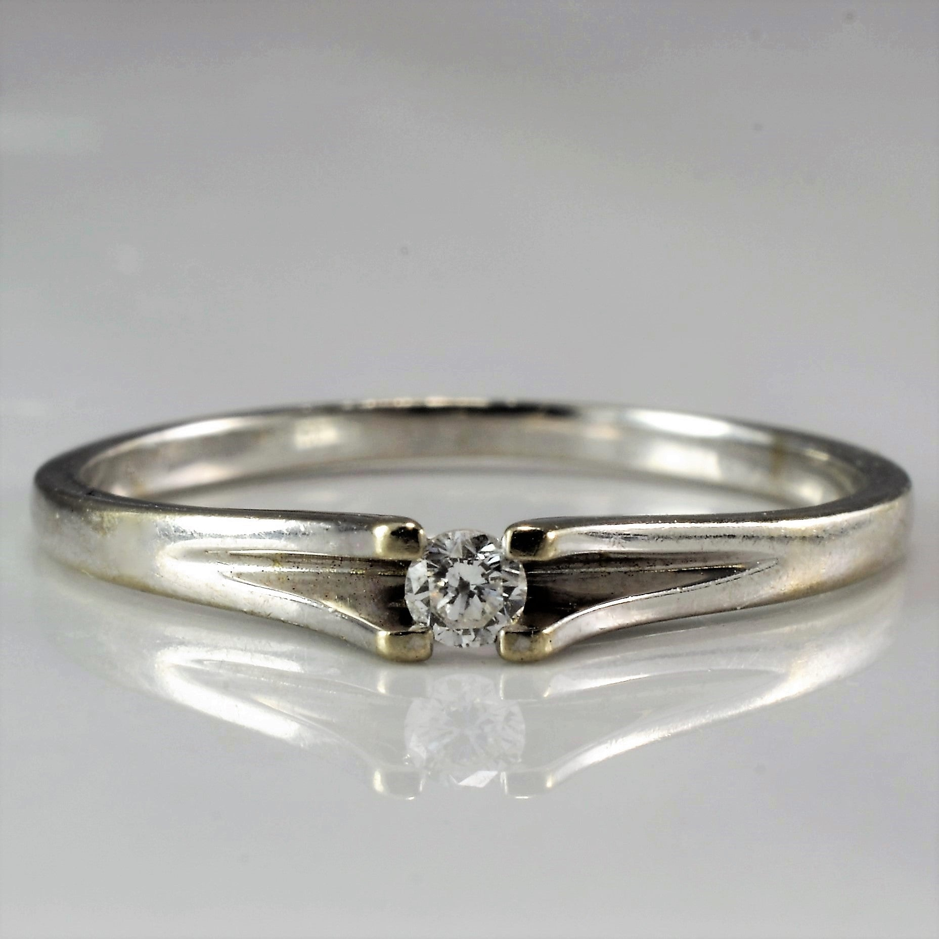 Petite White Gold Promise Ring | 0.04 ct, SZ 4.75 |