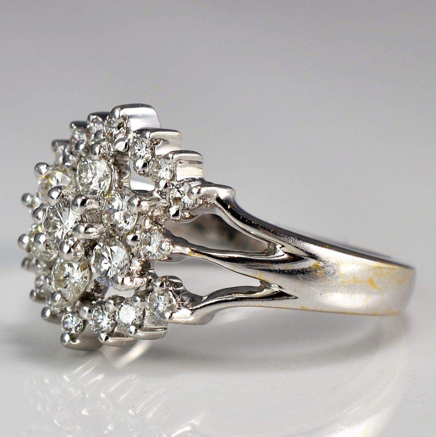Split Shank Diamond Floral Cluster Cocktail Ring | 0.71 ctw, SZ 6 |