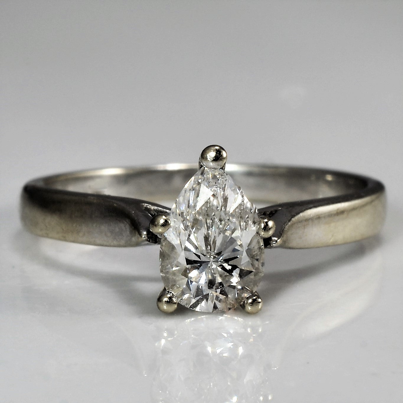 Tapered Pear Cut Engagement Ring | 0.52 ct, SZ 6.75 |
