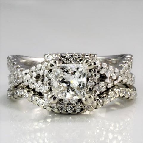 Cathedral Halo Diamond Wedding Set | 1.16 ctw, SZ 5 |