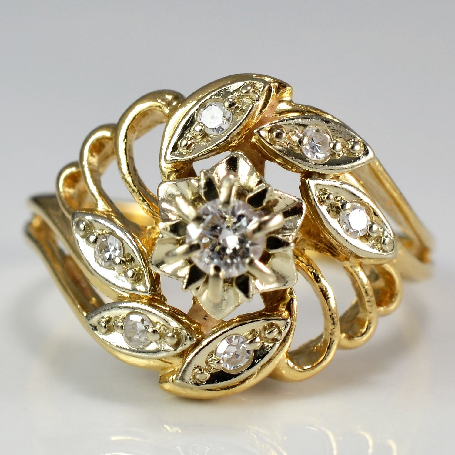 Floral Illusion Set Diamond Ring | 0.25 ctw, SZ 7.25 |