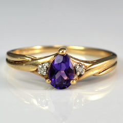 Twisted Pear Cut Amethyst Ring | 0.01 ctw, SZ 6 |