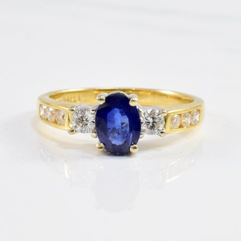Oval Sapphire & Diamond Engagement Ring | 0.36ctw, 0.90ct | SZ 7 |