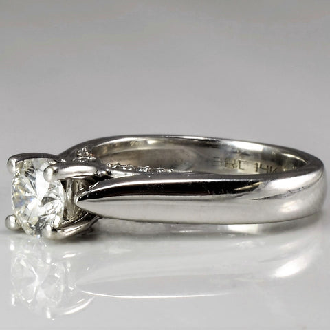Diamond Accented Cathedral Solitaire Engagement Ring SZ 4