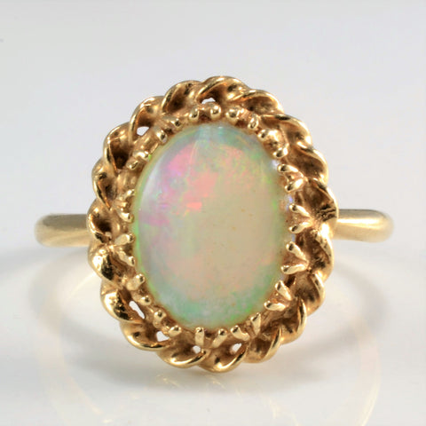 Braided Edge Solitaire Opal Ring | SZ 5.25 |