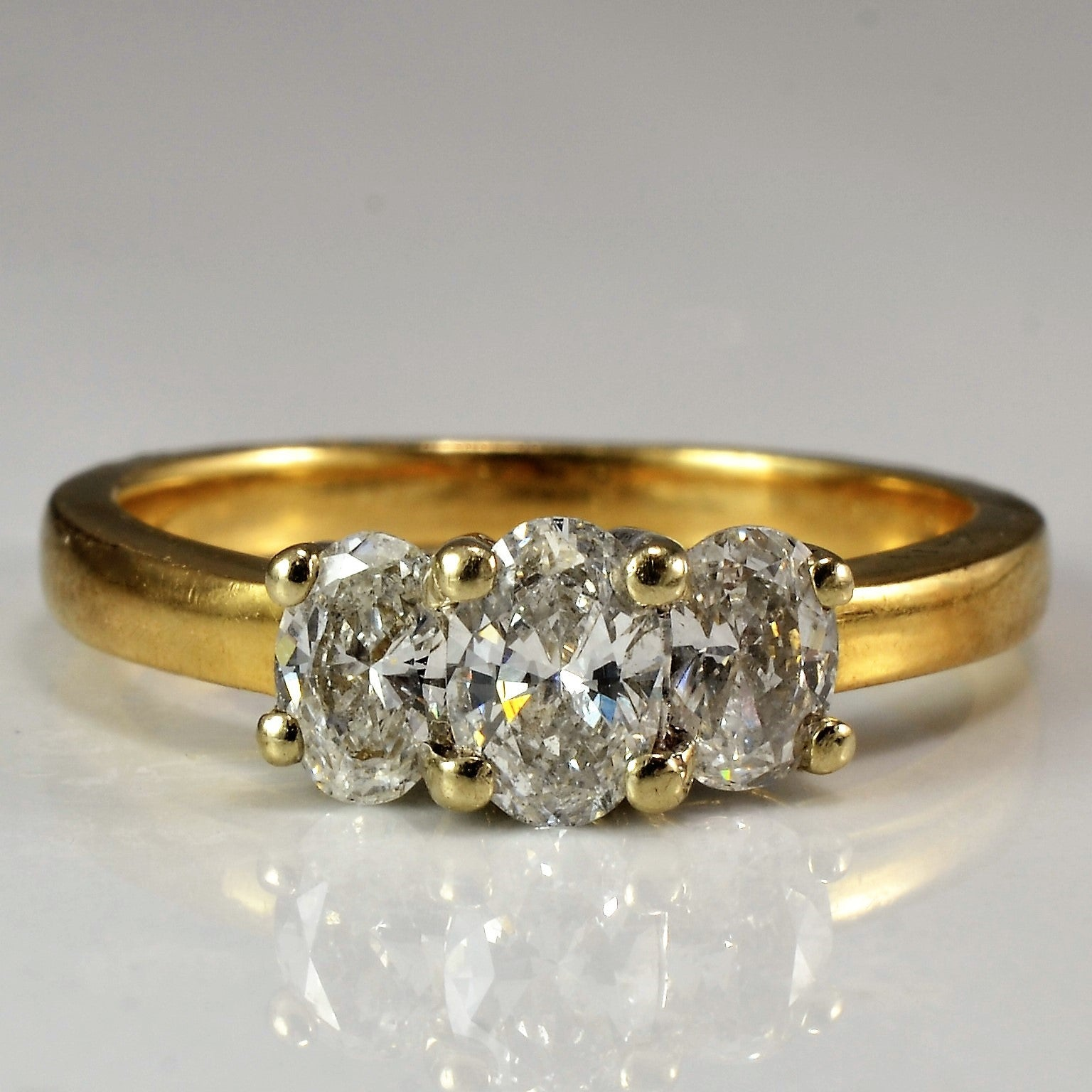 Oval Cut Three Stone Engagement Ring | 0.66 ctw, SZ 5.75 |