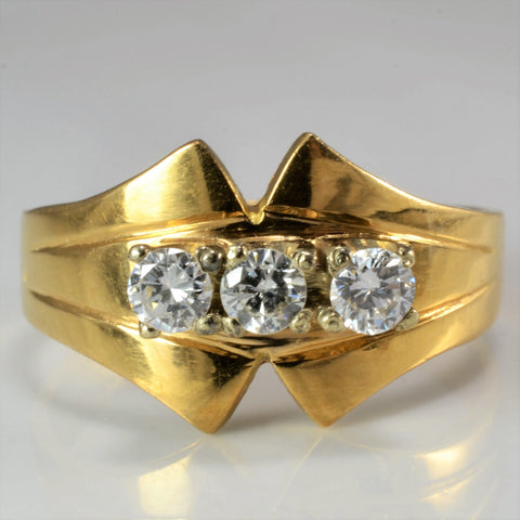 Split Chevron Three Stone Engagement Ring SZ 7.75