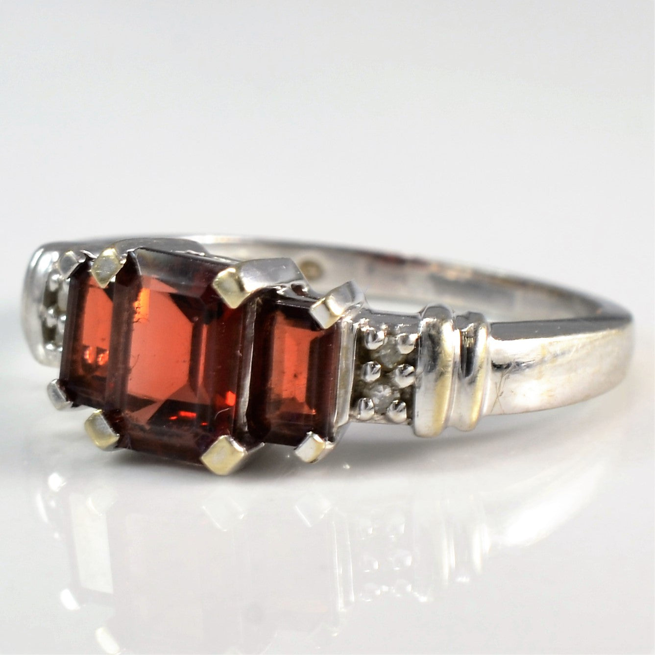 Diamond Accented Emerald Cut Three Garnet Ring | 0.04 ctw, SZ 7.25 |