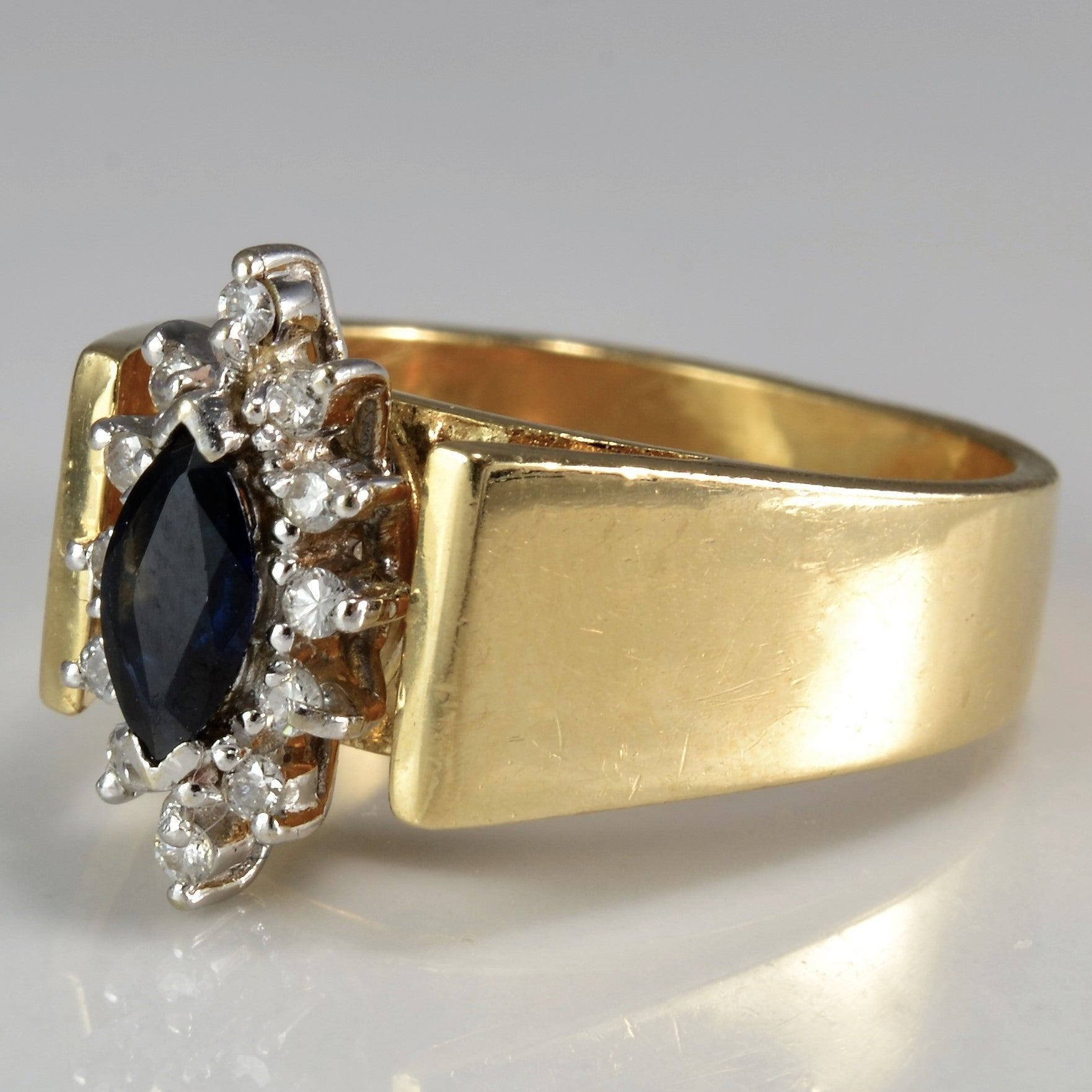 Open Cathedral Marquise Cut Sapphire Ring | 0.12 ctw, SZ 7 |