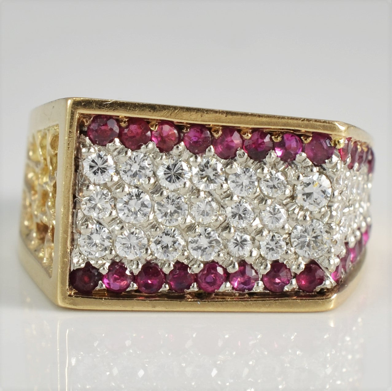 Pave Diamond & Ruby Ring | 0.75 ctw, SZ 9 |