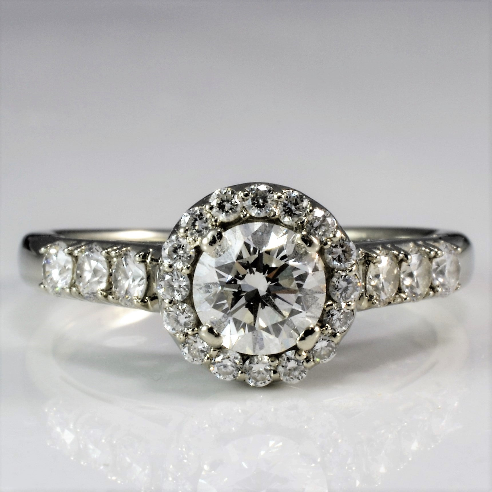 Delicate Diamond Halo Engagement Ring | 0.83 ctw, SZ 6 |