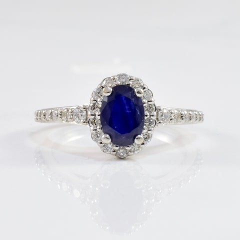 Diamond Halo Sapphire Engagement Ring | 0.45ctw, 0.76ct | SZ 5 |