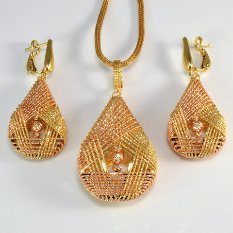 Two-Tone Gold Woven Filigree Necklace & Earrings Set | 18''|