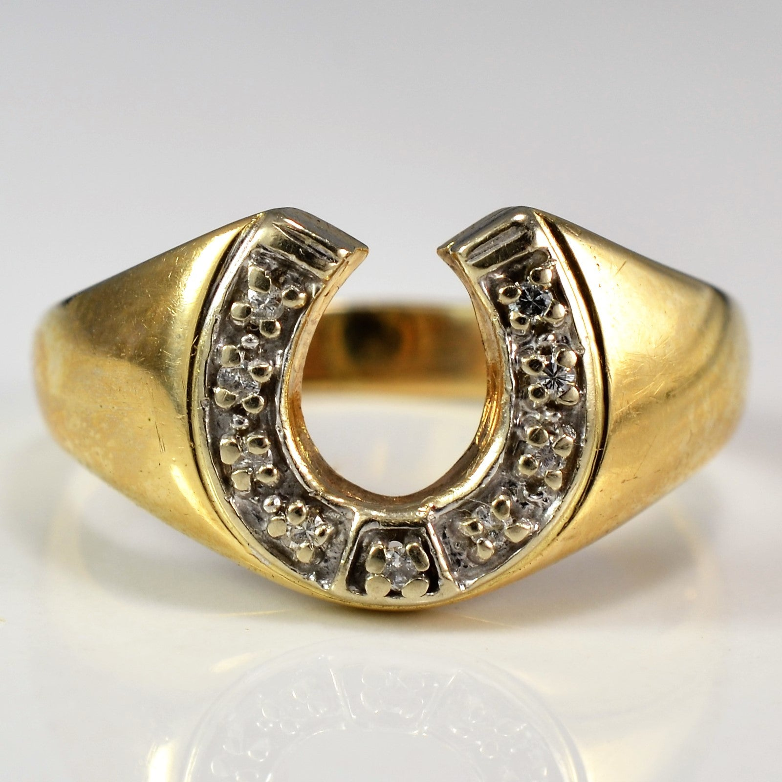 Horseshoe Diamond Ring | 0.05 ctw, SZ 10.25 |