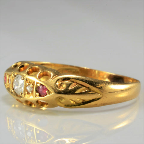 Victorian Era Diamond And Ruby Ring SZ 7.25