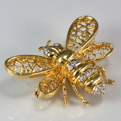 Yellow Gold & Diamond Bee Brooch | 0.05 ctw |