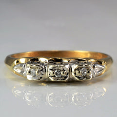 Retro Three Stone Ring | 0.03 ctw, SZ 7.5 |