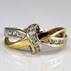 Two Tone Diamond Love Knot Ring | 0.15 ctw, SZ 5.75 |
