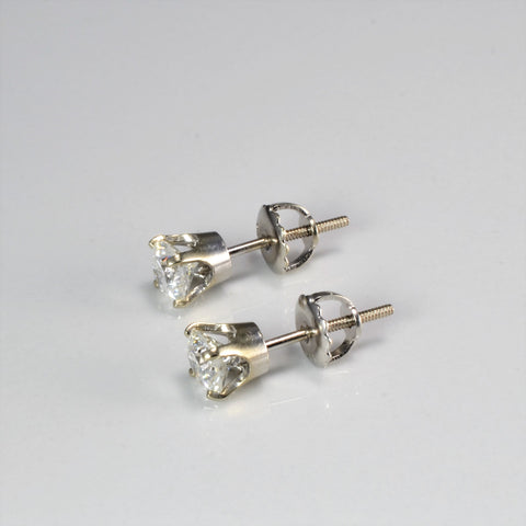 Diamond Thread Back Stud Earrings | 1.00 ctw |