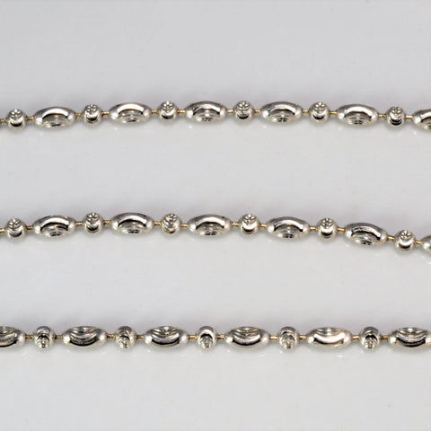 18K White Gold Beaded Link Chain | 17''|