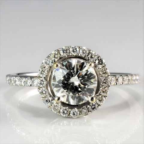 Petite Halo Diamond Engagement Ring | 1.12 ctw, SZ 5.75 |