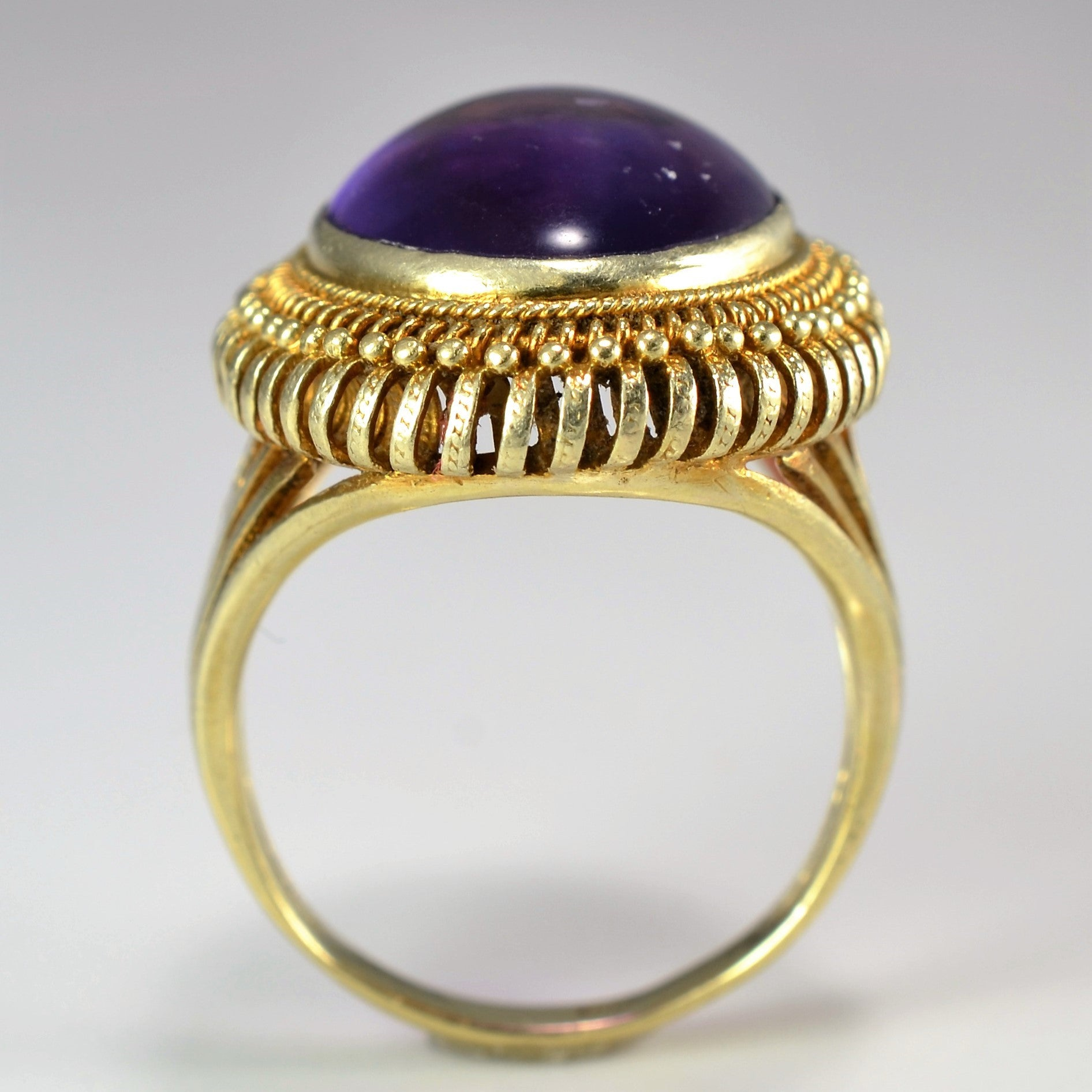 Bold Amethyst Cabochon Cocktail Ring | SZ 7 |