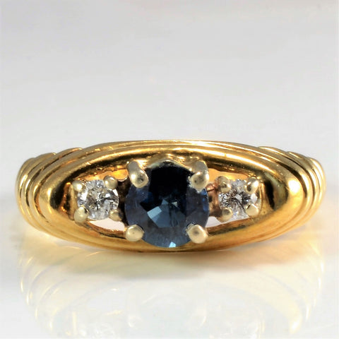 High Set Three Stone Sapphire & Diamond Ring | 0.07 ctw, SZ 4.75 |