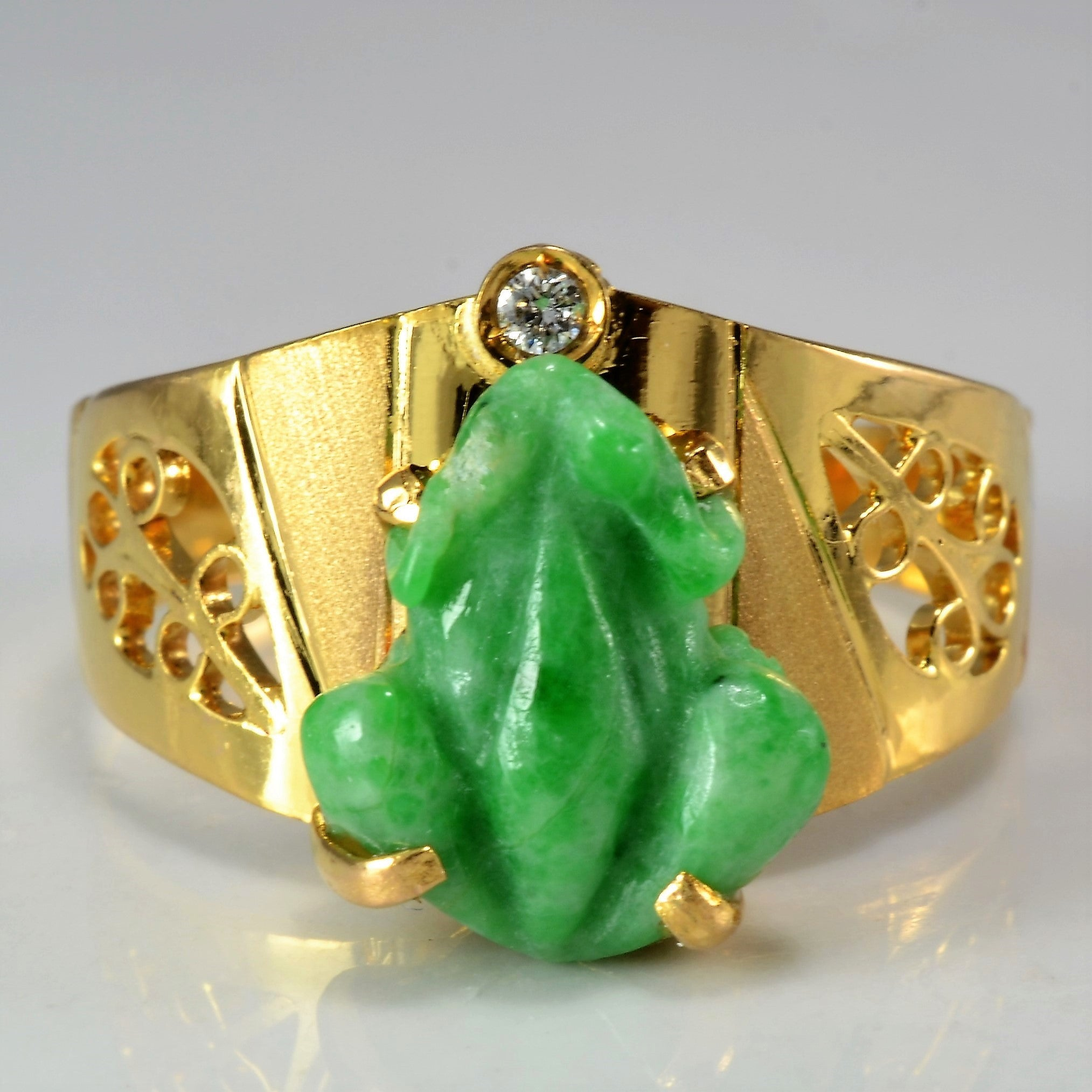 Diamond & Jade Frog Ring | SZ 8.75 |