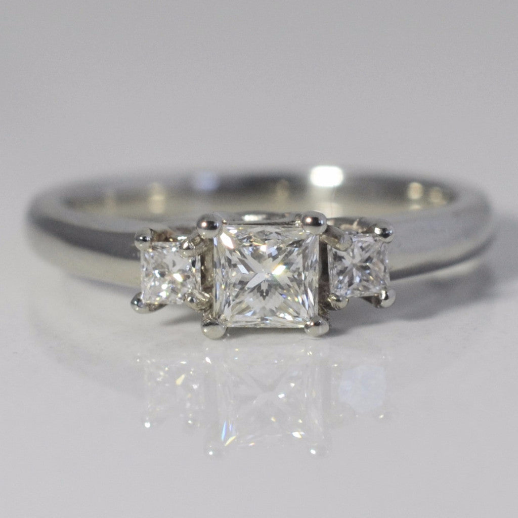 Three Stone Princess Cut Engagement Ring | 0.70 ctw, SZ 6 |