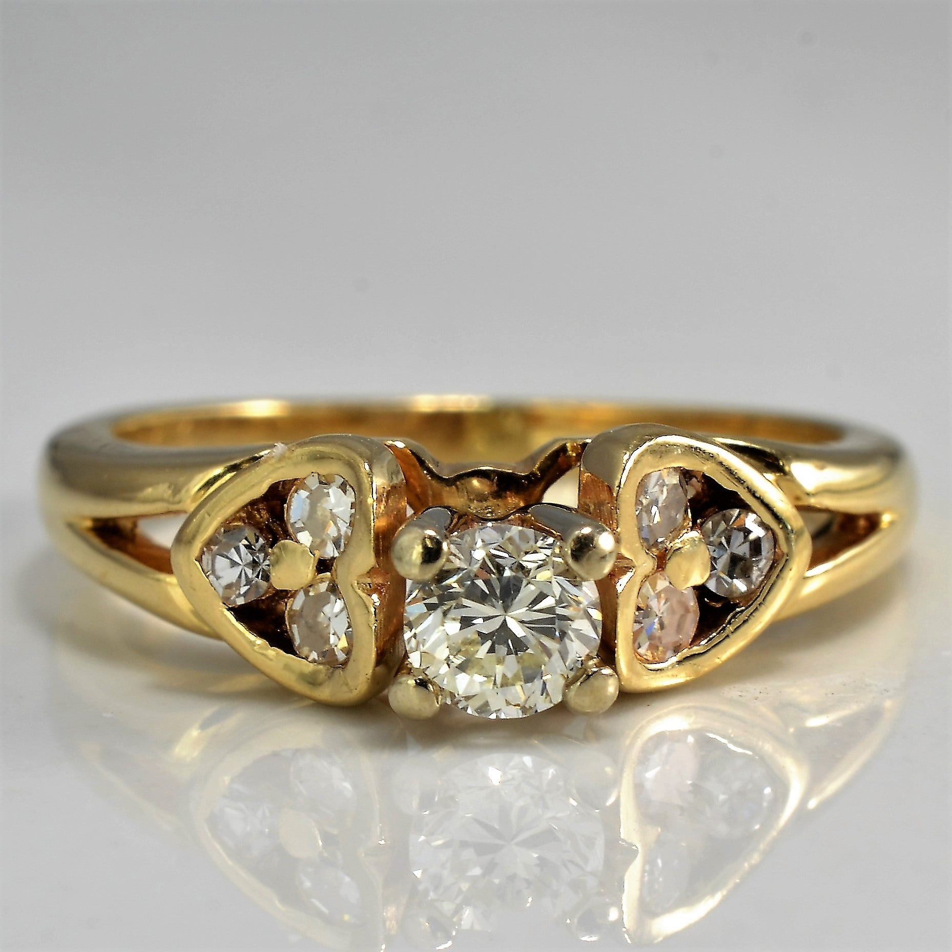 Diamond Heart Accented Engagement Ring | 0.25 ctw, SZ 4.5 |