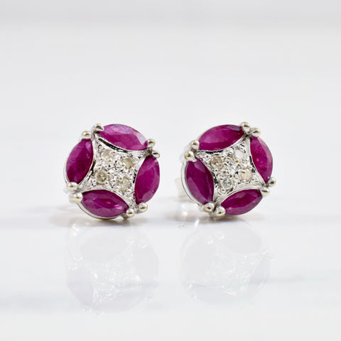 Art Deco Inspired Ruby & Diamond Earrings | 0.02 ctw |