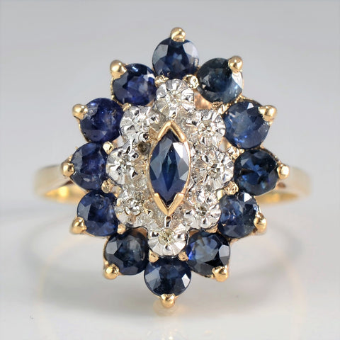 Marquise Sapphire & Diamond Cocktail Ring | 0.04 ctw, SZ 7.75 |