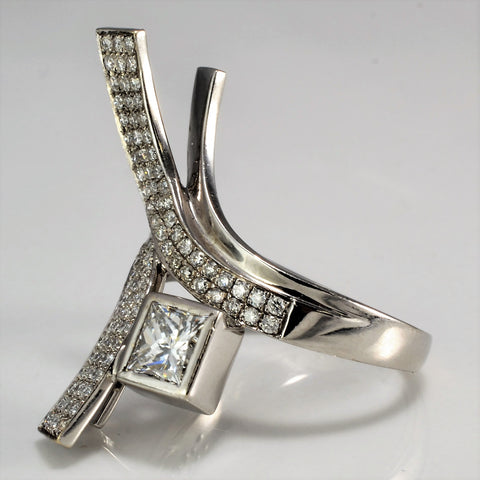Princess Pave Bypass Cocktail Ring | 1.12 ctw, SZ 7 |