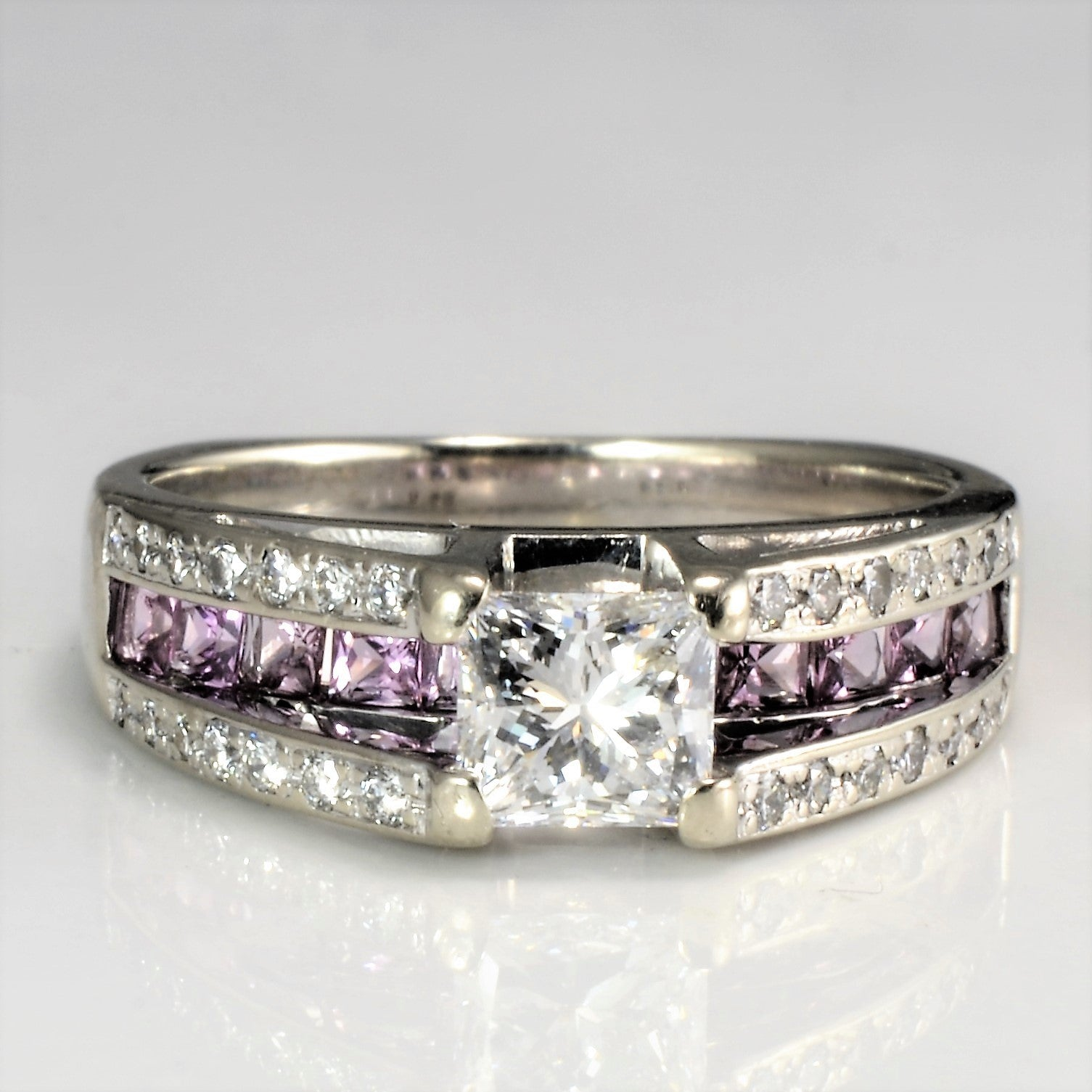 High Set Diamond & Sapphire Engagement Ring | 0.92 ctw, SZ 7 |