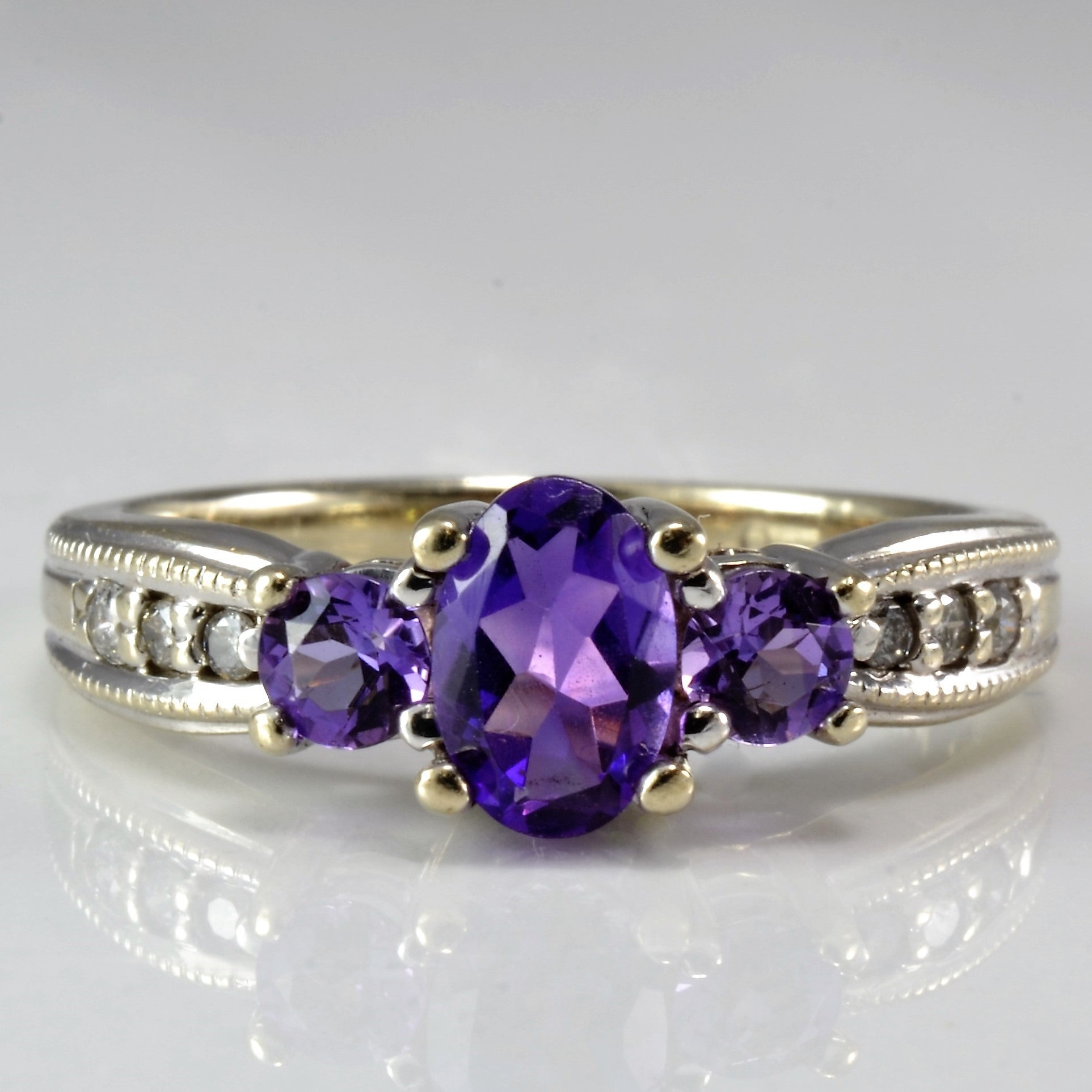 Three Stone Amethyst & Diamond Ring | 0.06 ctw, SZ 4 |
