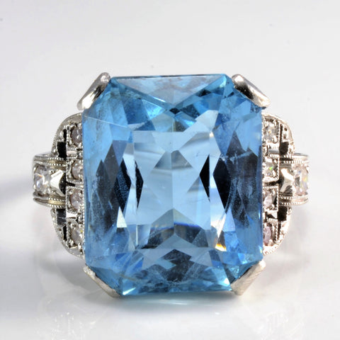 Art Deco Solitaire Aquamarine & Diamond Ring | 0.10 ctw, SZ 5.5 |