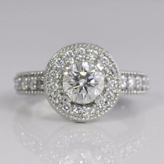 Milgrain Detailed Halo Engagement Ring | 1.35 ctw, SZ 5.5 |
