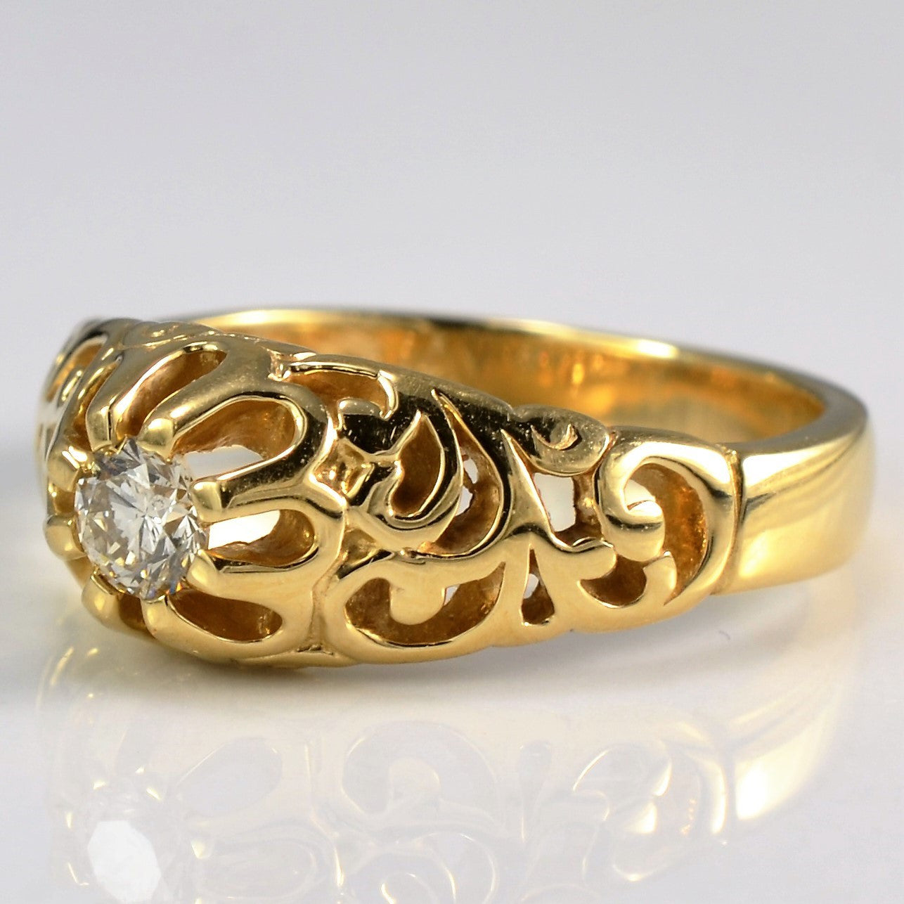 Vintage Filigree Diamond Ring | 0.16 ct, SZ 6.25 |