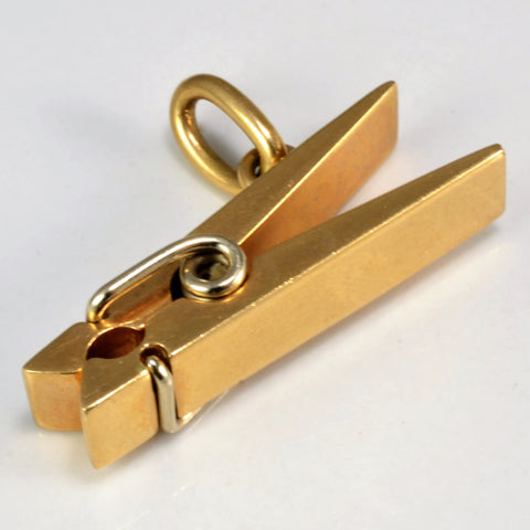 Yellow Gold Clothes Pin Pendant