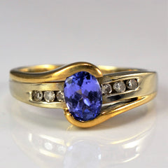 Oval Tanzanite & Diamond Ring | 0.06 ctw, SZ 5 |