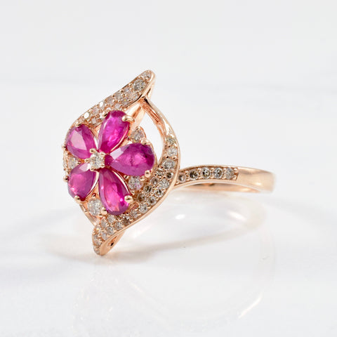 Floral Ruby & Diamond Ring | 0.28ctw, 0.90ctw | SZ 7 |