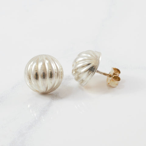 'Birks' Textured Dome Earrings