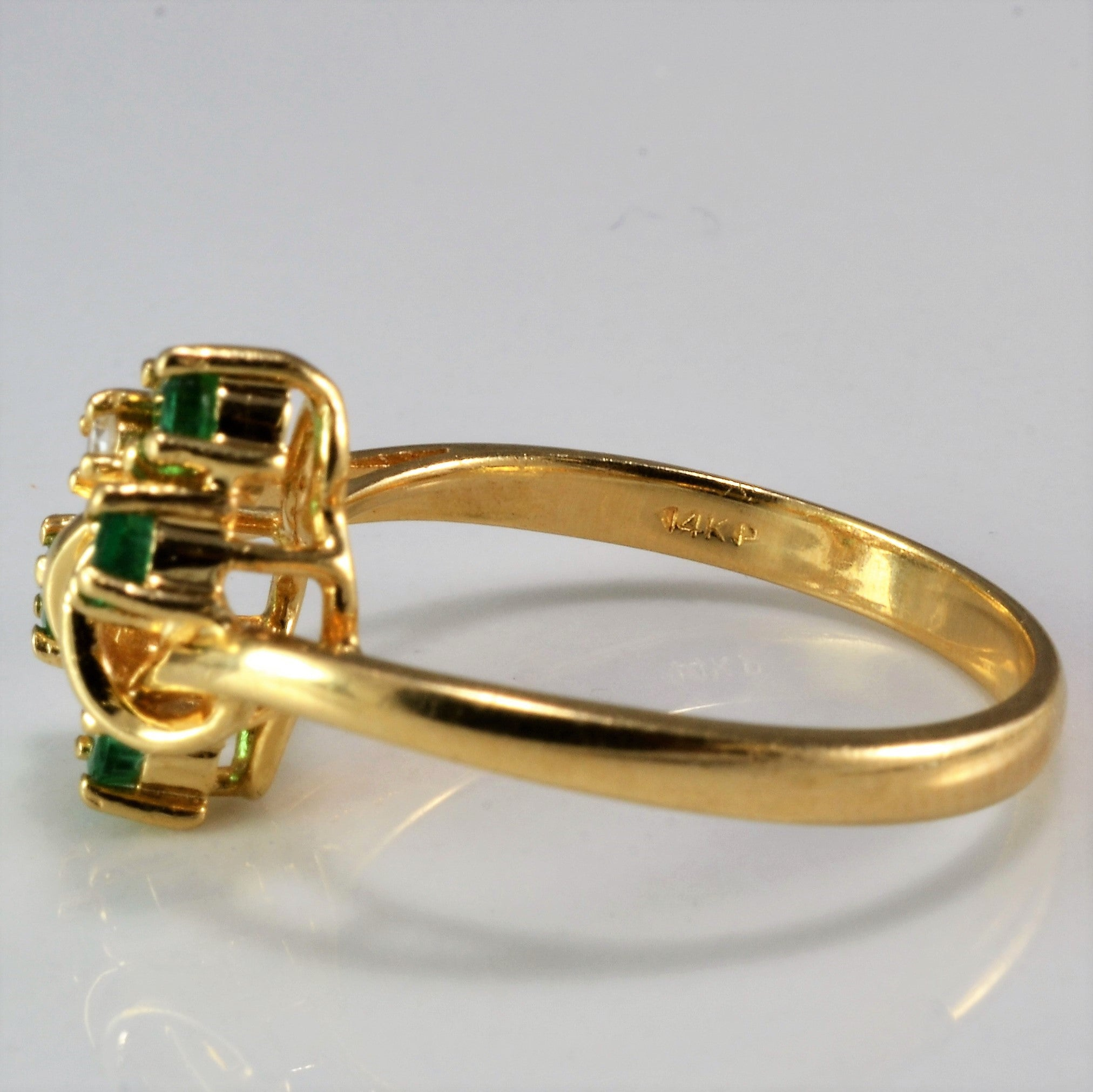 Twisted Emerald & Diamond Ring | 0.03 ctw, SZ 6.25 |